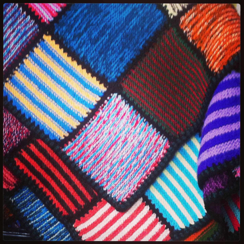 strikkede firkanter til tæpper